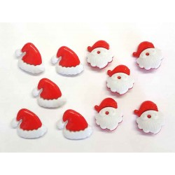 Santa Hats & Santa 's Head Buttons - Pack of 10